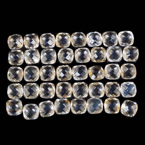 VVS 40 Pcs Natural Citrine 9mm Cushion Cut Loose Checkerboard Cut Gemstones Lot