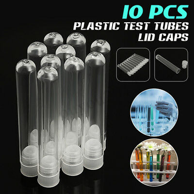 10pcs Plastic Clear Lab Laboratory Test Tubes Vial Sample Containers Wlid Caps