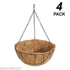 4-Pack-x-30cm-Hanging-Baskets-Garden-Planters-with-Liner-Hang-Chain