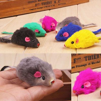 5Pcs Pet Cat Toys Rabbit Fur False Mouse Kitten Cat Playing Funny Toys US Stock