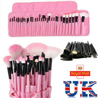 32PCS Professional Make up Brushes Set Cosmetic Tool Kabuki Makeup+Luxury Bag UK