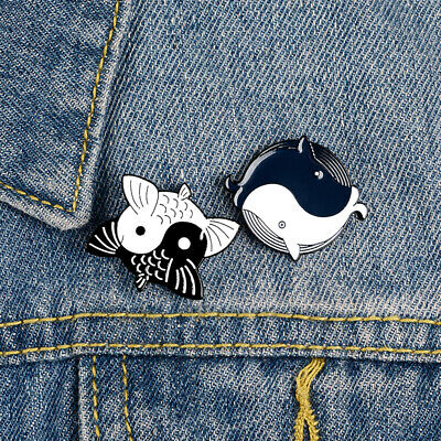 Anime Couples Black And White (Black White Jewelry Enamel Dolphin Tai Chi Yin Yang Fish Couple Brooch Pin)
