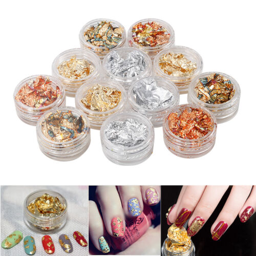 12 Set Nail Art Gold Silver Polish Glitter Foil Paillette Flake Chip Stickers AQ