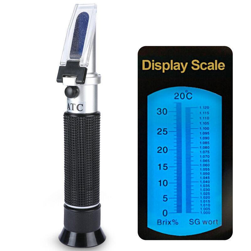 0~32% Brix Wort Specific Gravity Refractometer Fruit Juice Beer Wine Sugar Test
