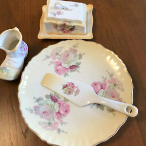 Old Foley cake plate and server   Cheese dish    And boot