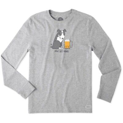 MEN'S LIFE IS GOOD MAN'S BEST FRIEND DOG BEER LONG SLEEVE CRUSHER TEE GRAY