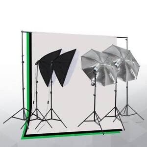 Photo Studio Lighting Kit with 2 Umbrella, 2 Softboxes & 3 Backdrop stand Muslin