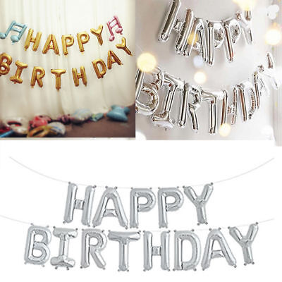 Self Inflating Balloons (Self Inflating Happy Birthday Banner Foil Balloon Bunting Gold Silver Letters)