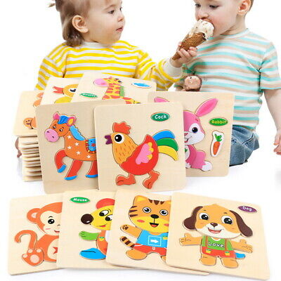 3D Animal Wooden Jigsaw Puzzles Preschool Puzzle Learning For Kids Toddler