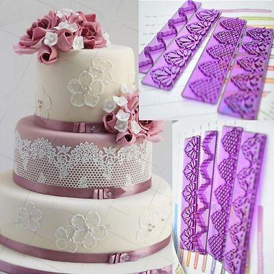 4 Stücke Spitze Form Zucker Fondant Textur Kuchen Dekorieren Backwerkzeug UE Backen Kuchen