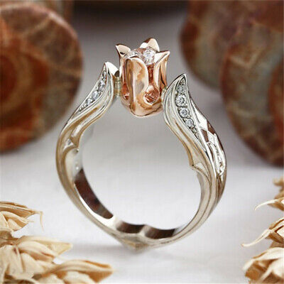 - Exquisite Rose Gold Rose Floral Ring 925 Silver Flower Wedding Jewelry Size 5-10