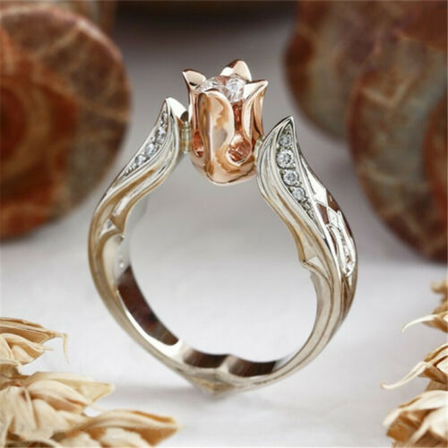 Exquisite Rose Gold Rose Floral Ring 925 Silver Flower Weddi