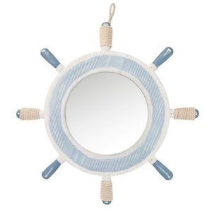 Shabby-Chic Nautical Seaside Themed Wooden Ship Wheel Bathroom Mirror Blue Cream