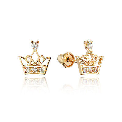 14k Yellow Gold Round Crown Children Screw Back Baby Girls Earrings