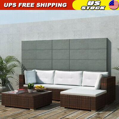 Garden Furniture - 14 Pcs Garden Outdoor Sofa Set Poly Rattan Sectional Couch Patio Furniture Brown