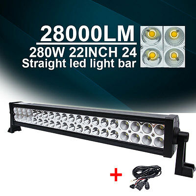 22 24INCH Philips 280W LED LIGHT BAR  COMBO 4WD JEEP BEAM Off road LAMP +WIRING