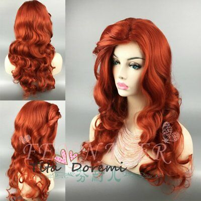 Halloween Wig Costume Woman Curly Red Brown Cosplay Heat Resistant Hair 65cm - Curly Red Hair Halloween Costume