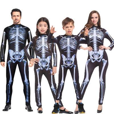 Halloween Family Scary Demon Devil Skeleton Costumes Jumpsuit for Men Women Kids