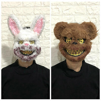 White Bunny Rabbit Bloody Fur Teeth Creepy Scary - Scary Bunny Maske