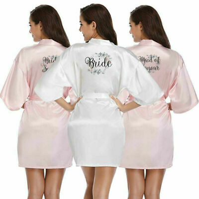 Floral Bridesmaid Bride Personalised Wedding Robe Maid of Honour Gown Gift