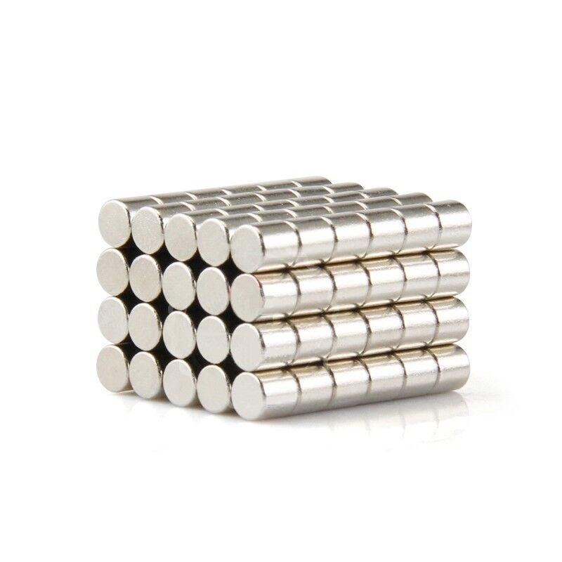 Neodym Magnete super stark Scheiben Würfel N35 N45 N50 doppelt vernickelt Scheibe - Ø 4 X 5mm