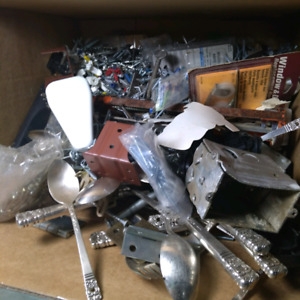 Box of various nails, screws, hardware etc