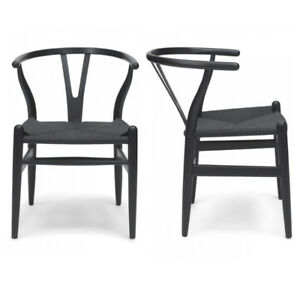 set of 4 dining chairs wishbone style