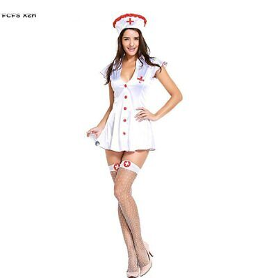 Nurses Costume For Halloween (Sexy Woman Halloween Nurse Costume for Female Doctors Role play Cosplay)