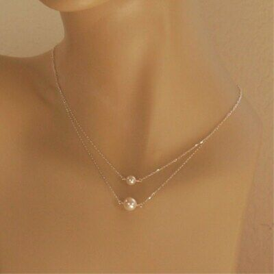Dainty Pearl Choker Necklace Silver Layered Floating Delicate Simple Minimalist