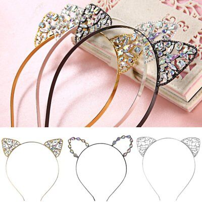 Cat Ears Rhinestone Heart Headband Hair Accessories Band Costume Party - Cat Headband