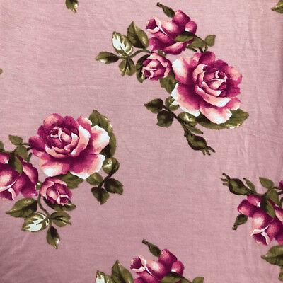 Knit Rose Pattern - Rose Pattern Prints on Rayon Spandex Jersey Knit Fabric - Style P-79-HVY-RSJ