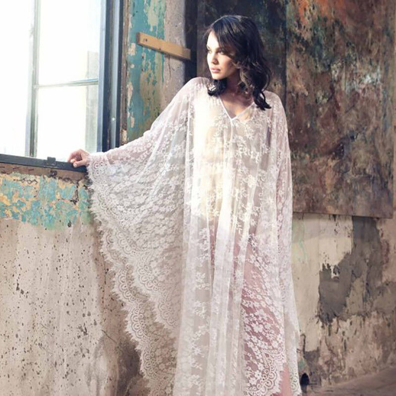 Details About Women Lace Kaftan Cover Up Dress Maxi Wedding Lingerie Tunic Wrap Maternity Gown