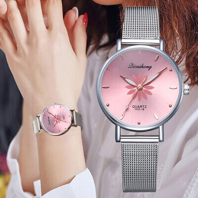 Fashion Women's Wristwatches Metal Dial Flowers Bracelet Quartz Wrist Watch Gift Dial Metal Quartz Watch