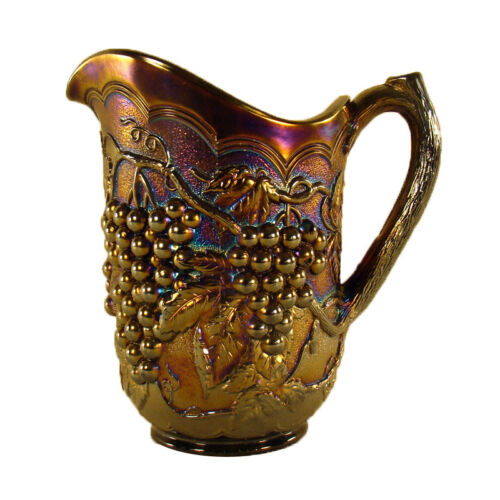 Carnival Glass Pitcher with Grape and Cable Pattern