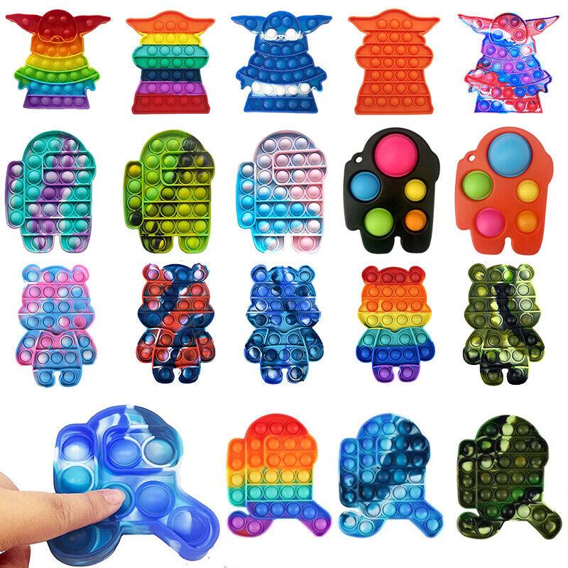 Among US Push Popit Bubble Fidget Sensory Toys Special Needs Stress Reliever
