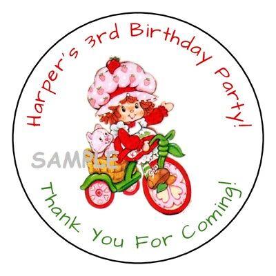 Strawberry Shortcake Birthday (12 vintage Strawberry shortcake party stickers,birthday)