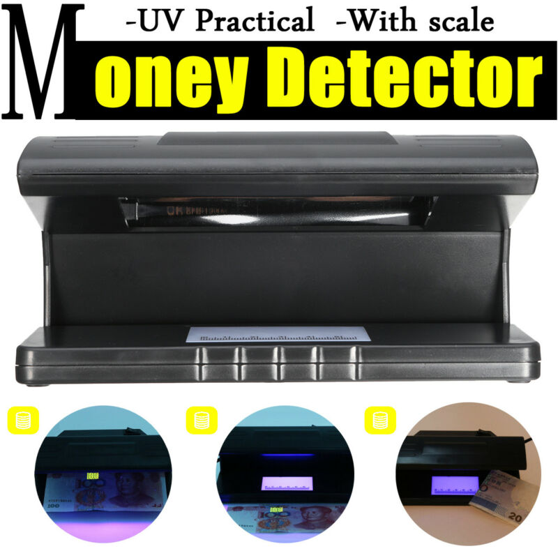 Portable UV Light Bill Currency Detector Money Test Lamp Dollar Checker w/Scale