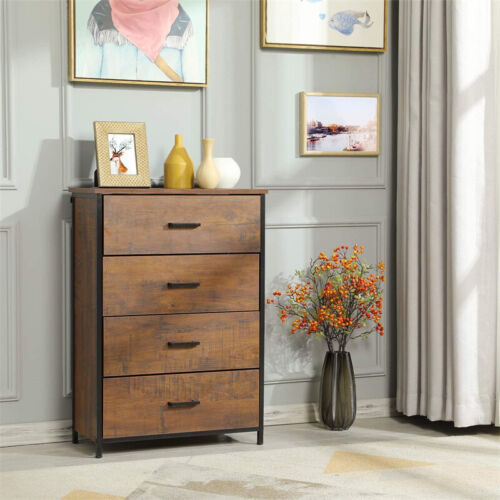 Dressers Chest Of Drawers 4 Drawer Wooden Finish Bedroom Storage Nightstand