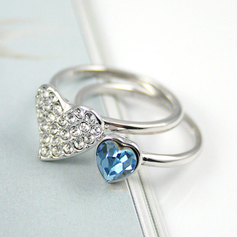 5f13d96b1b527 Details about Aqua Blue Heart Stack Rings Made with Swarovski Elements  Diamante Heart Rings