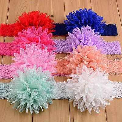 14 Colors Kid Baby Girls Elastic Headwear Lace Flower Headband Hair Bow Lot