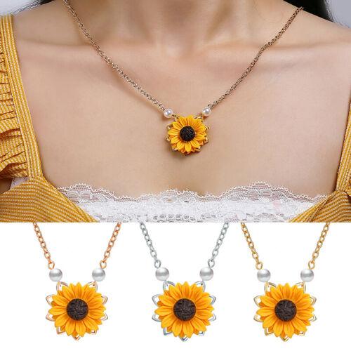 Fashion Charm Sunflower Pendant Women Pearls Drop Necklaces