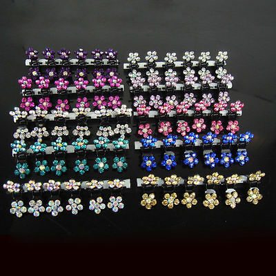 - Girls Sweet Crystal Rhinestone Flower Mini Hair Claws Clips Pin Clamps 12 pcs