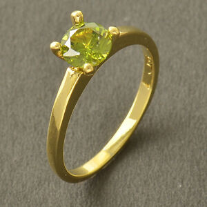 Solitaire 9K Yellow Gold Filled Wedding Engagement Ring Size 6