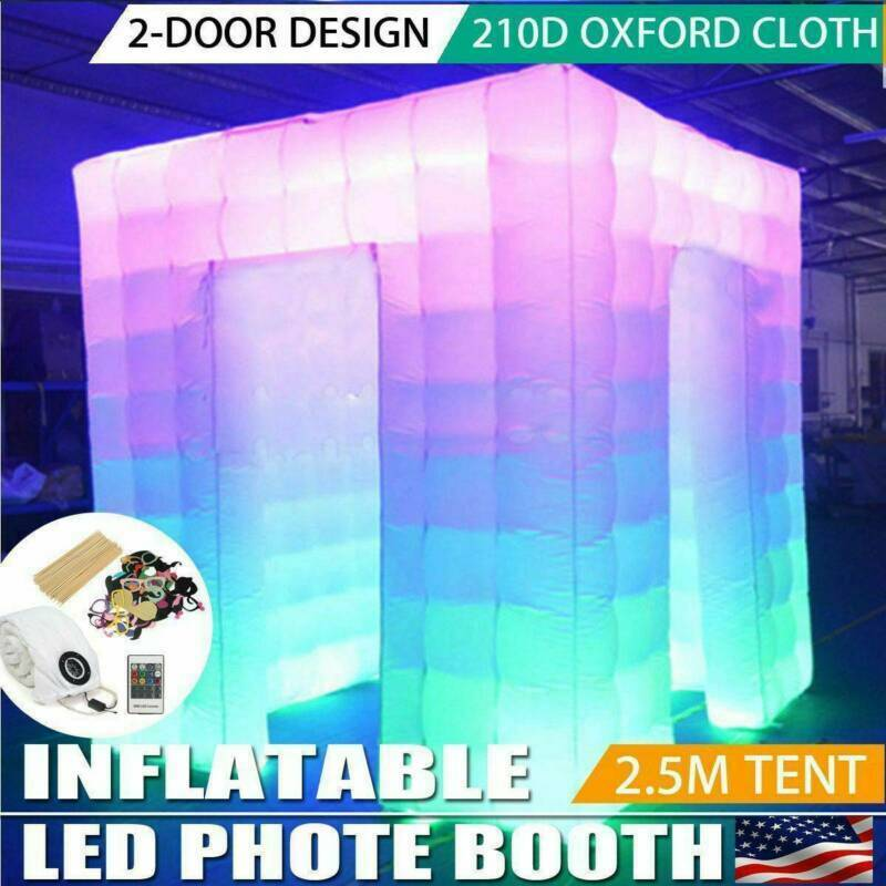 2-Door 8.2FT Inflatable LED Light Photo Booth Tent for Party Birthday Wedding