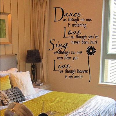 Dance Live Sing Love Lettering Wall Sticker DIY Vinyl Removable Black Home Decor