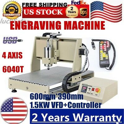 Usb 4 Axis Cnc 6040t Router Engraver Wood Pvc Engraving Milling Machine 1.5kwrc
