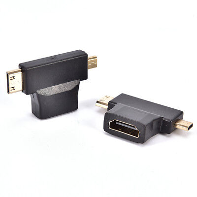 STEYR 2 Pack 2-in-1 Mini HDMI and Micro HDMI Male to HDMI Female Adapter Gold XB