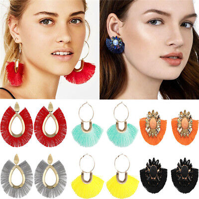 (Long Big Fan Shaped Tassel Drop Dangle Thread Circle Hoop Crystal Earrings)