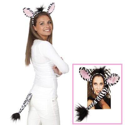 ZEBRA - SET Haarreif & Schwänzchen Tier Kostüm Zubehör - Karneval (Zebra Kostüm Haar)