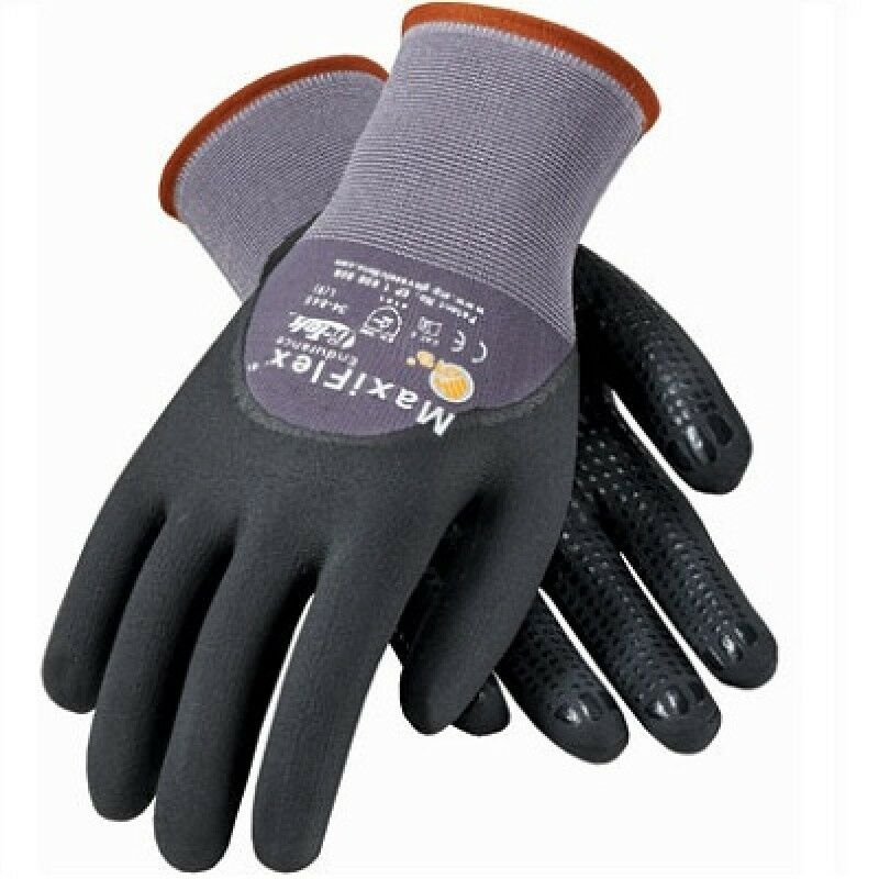 PIP 34-845 MaxiFlex Dotted Palms 3/4 Coat Nitrile Micro-Foam Gloves Size: XXS-2X Business & Industrial